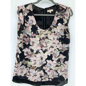 Rebecca Taylor womens 6 blouse keyhole floral silk